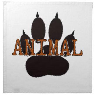 Black Animal Paw Print Napkin