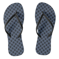 Black Animal Paw Prints on Blue Jeans Blue Flip Flops