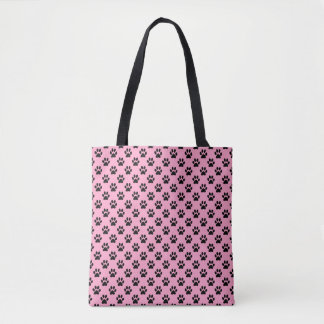 Black Animal Paw Prints on Carnation Pink Tote Bag