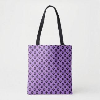 Black Animal Paw Prints on Lavender Purple Tote Bag