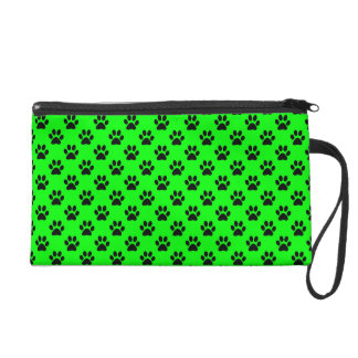 Black Animal Paw Prints on Lime Green Wristlet