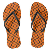 Black Animal Paw Prints on Orange Flip Flops