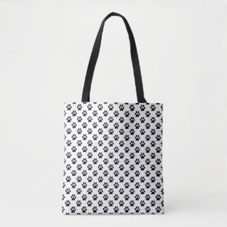 Black Animal Paw Prints on White Tote Bag