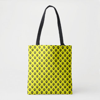Black Animal Paw Prints on Yellow Tote Bag
