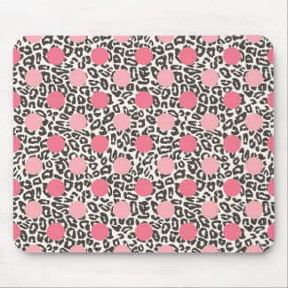 Black Animal Print with Pink Polka Dots Mouse Pad
