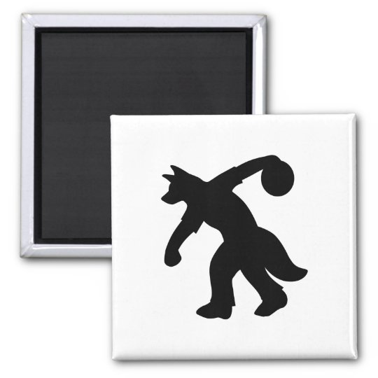 Black Anthropomorphic Canine Bowling Magnet 0001