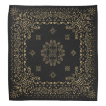Black Antique Bronzes/Brass Paisley Bandana