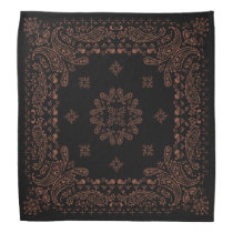Black Antique Copper Paisley Bandana