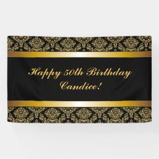 Black Any Age Gold Damask Birthday Banner