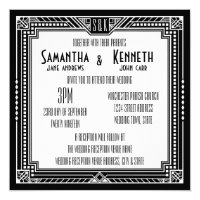 Black & Any Color Great Gatsby Geometric Wedding Card