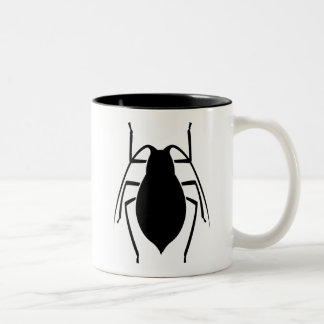 Black Aphid Insect Print Two-Tone Coffee Mug