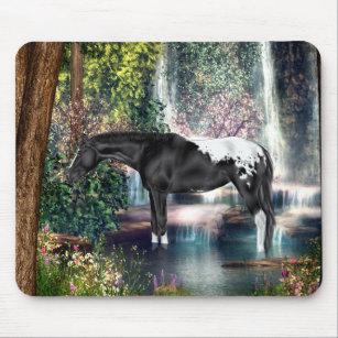 Black Appaloosa Horse Waterfall Background Mouse Pad