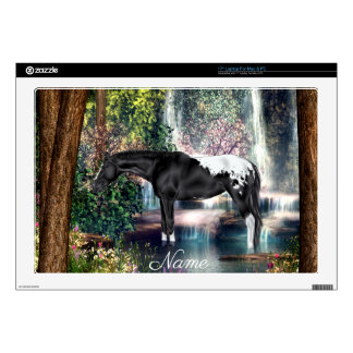 """Black Appaloosa Horse Waterfall Print Decal For 17"""" Laptop"""