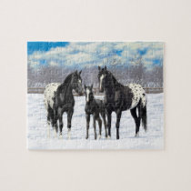 Black Appaloosa Horses In Snow Jigsaw Puzzle