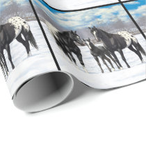 Black Appaloosa Horses In Snow Wrapping Paper