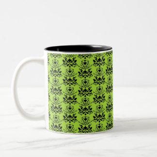 Black & Apple Green Damask Print Two-Tone Coffee Mug