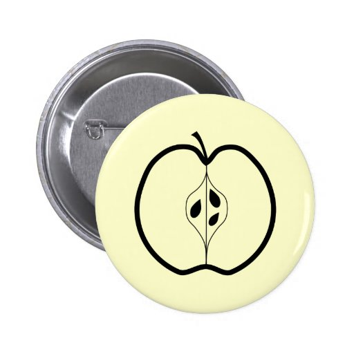 Black Apple Line Illustration. Pinback Buttons