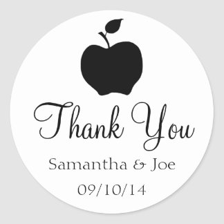 Black Apple Thank You Classic Round Sticker