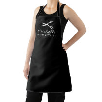 Black apron for hair salon stylist or barber shop