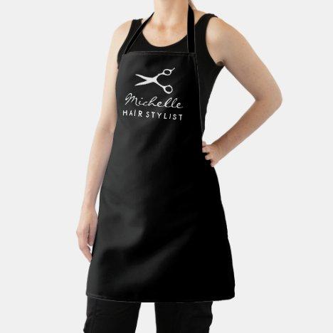 Black apron for hair salon stylist or barber shop