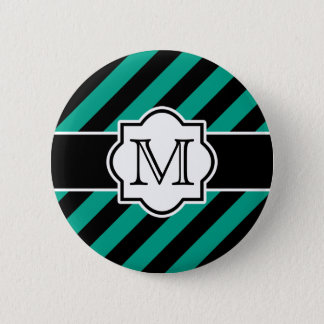 Black Aqua Abstract Striped Pattern with Monogram Pinback Button