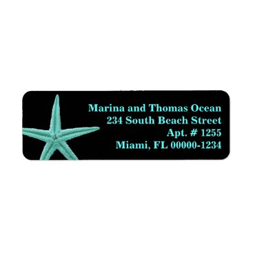 Beach Themed Black Aqua Blue Starfish Custom Address Labels