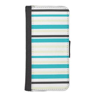 Black Aqua Cream Striped Pattern iPhone SE/5/5s Wallet