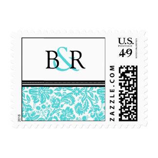 Black Aqua Damask Monogram Wedding Stamps