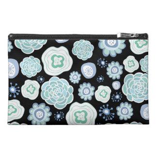 Black & Aqua Designer Floral Make Up Canvas Bag! Travel Accessories Bag