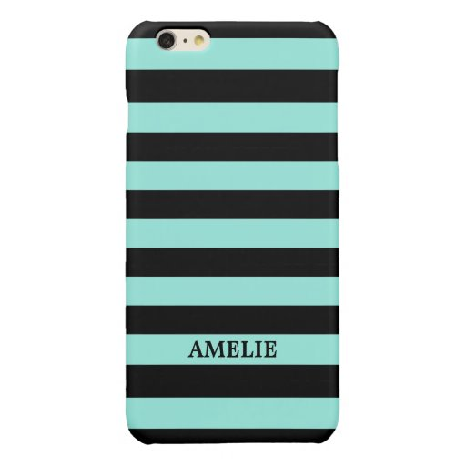 Black Aqua Green Stripes Pattern {pick your color} Glossy iPhone 6 Plus Case