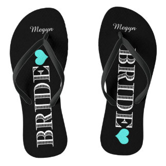 Black/Aqua Heart Bride's Flip Flops
