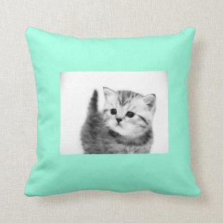 Black & Aqua Kitten Polyester Throw Pillow