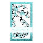 Black, aqua peacock and cherry blossoms business card