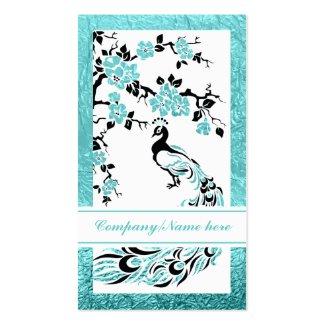 Black, aqua peacock and cherry blossoms business cards
