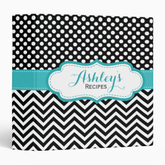 Black Aqua Polka Dots Chevron Recipe Binder