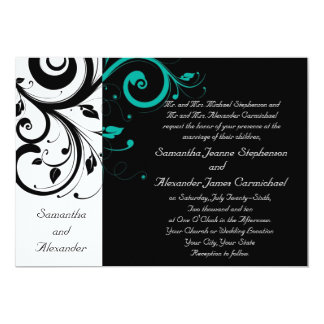 Black Aqua Swirl Wedding Traditional Card