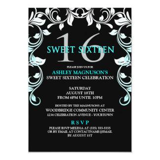 Black/Aqua Vines Sweet 16 Invitation
