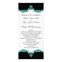 black aqua Wedding program