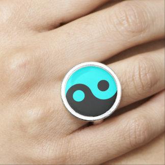 Black Aqua Yin Yang Photo Ring