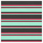 [ Thumbnail: Black, Aquamarine, and Crimson Colored Lines Fabric ]