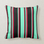 [ Thumbnail: Black, Aquamarine, and Crimson Colored Lines Throw Pillow ]