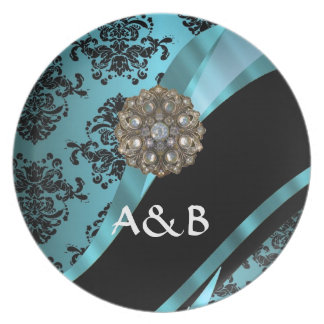 Black & aquamarine damask dinner plate