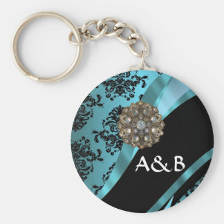 Black & aquamarine damask key chain