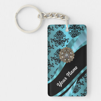 Black & aquamarine damask keychain