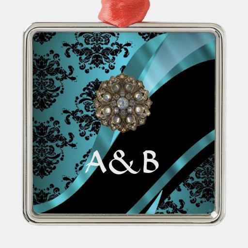 Black & aquamarine damask metal ornament
