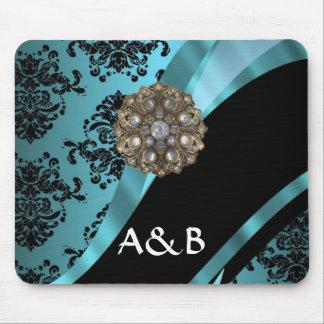 Black & aquamarine damask mouse pad