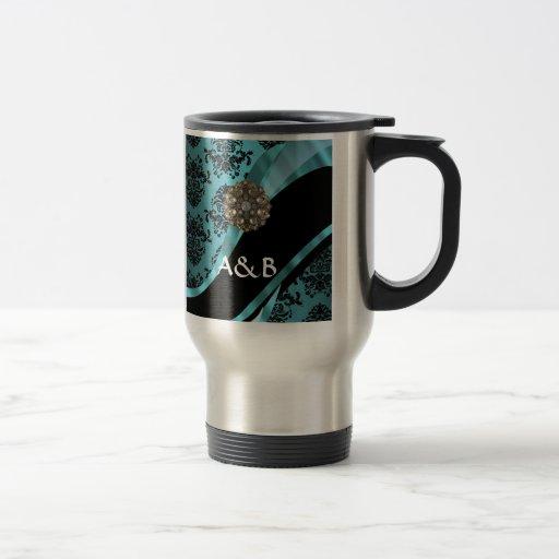 Black & aquamarine damask mugs