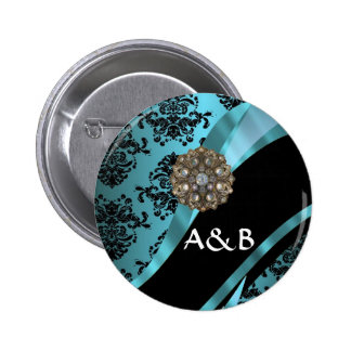 Black & aquamarine damask pinback button