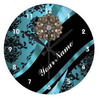 Black & aquamarine damask wall clock
