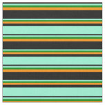 [ Thumbnail: Black, Aquamarine, Green & Dark Orange Colored Fabric ]